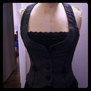 Forever 21 black pinstripe vest office work